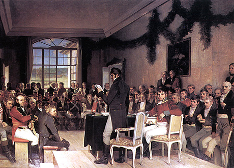 Riksforsamlingen på Eidsvoll (Kilde: Arkiv/SCANPIX. http://www.nrk.no/programmer/radio/norgesglasset/3686526.html)