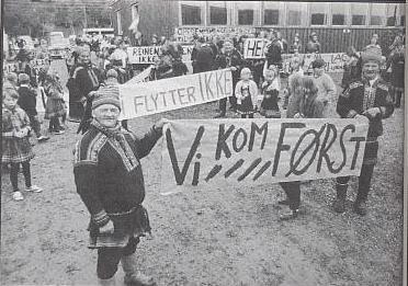 """Altasaken og samenes rettigheter (kilde: """"Altasaken. 12 års kamp for Alta- Kautokeinovassdraget."""" av Åsmund Lindal/Helge Sunde s.18)"""