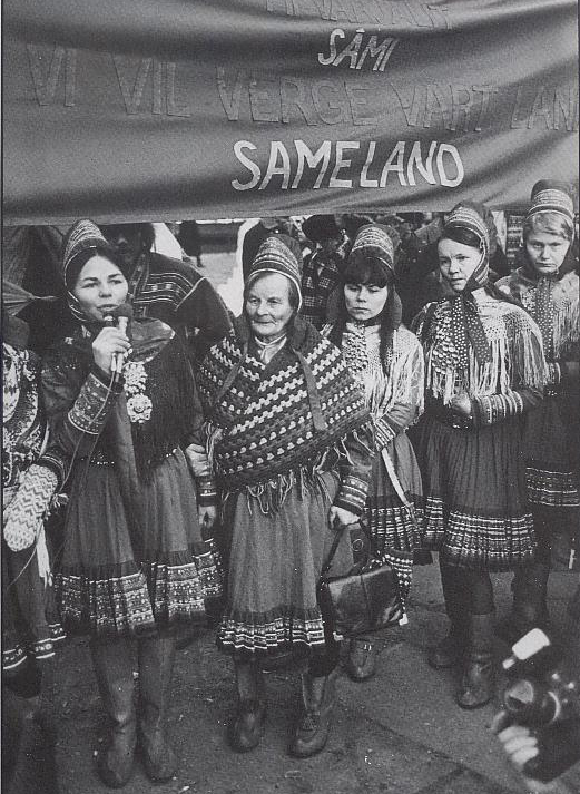 """Vi vil verge vårt land Sameland (kilde: """"Altasaken. 12 års kamp for Alta- Kautokeinovassdraget."""" av Åsmund Lindal/Helge Sunde s. 129)"""