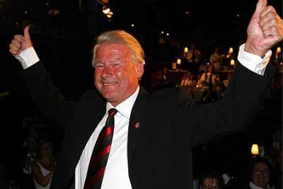 Carl I. Hagen på FrPs valgvake i Wallmanns Salonger i Oslo